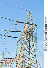 High voltage tower - High voltage electricity pylon for the...