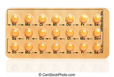 tablets Birth Control Pills on a white background