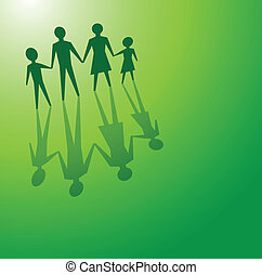 family in green concepts - to illustrations a family in a...