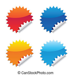 glossy seal stickers - seal sticker, orange and blue color...