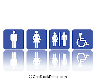 toilet signs, man and woman - symbols for toilet, washroom,...