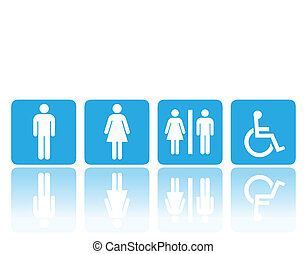 toilet or restroom signs - toilet signs, man and woman...