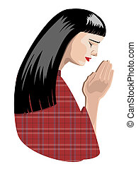 praying woman - illustration of praying woman, vector...