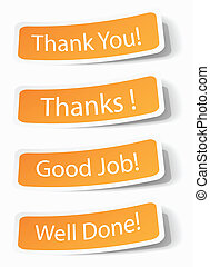 Thank you notes as stickers with shadow effects, vector...