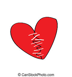broken heart with stitches, more heart shape cartoon is in...