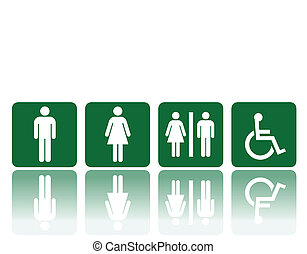 toilets signs - symbols for toilet, washroom, restroom,...