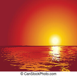 sunset or sunrise on sea, illustrations