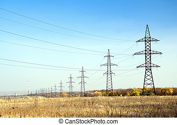 Electric high voltage - High voltage power line on the...
