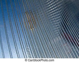 abstract transparent blue glass material, industry details -...