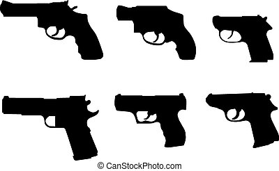 Various silhouettes of hand guns