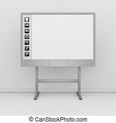 interactive whiteboard - front view of an interactive board...