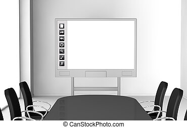 interactive whiteboard - one office room with an interactive...