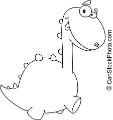 cute dino cartoon outlined - illustration of a cute dino...