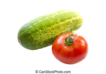 Cucumber tomato healthy food vegetables isolated