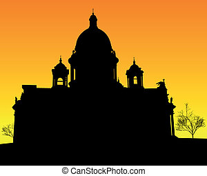 silhouette of St Isaacs Cathedral in St Petersburg - black...