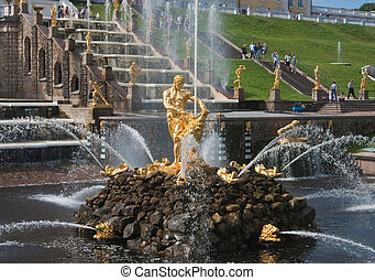 Samson Fountain, Grand cascade in Pertergof,...