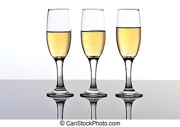 Three champagne/wine flutes