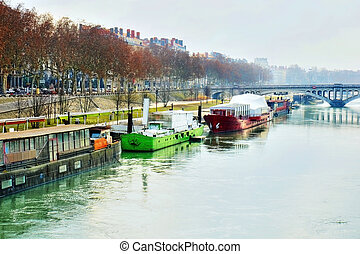 Barges on the Rhone river