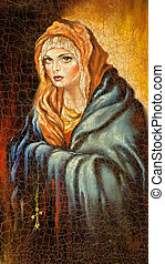 The Madonna drawn by me by oil on canvas