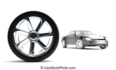 new wheel on shiny disks on a background a modern auto