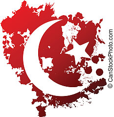 Blood crescent - Symbol of Islam reversed out of blood