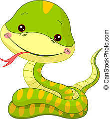 Fun zoo. Snake - Fun zoo. Illustration of cute Snake