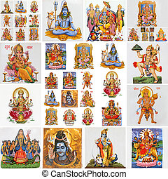 collection of hindu religious symbols - collage with hindu...