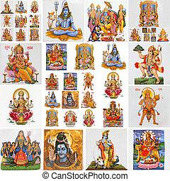 Colección, hindú, religioso, símbolos