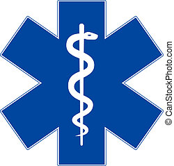 Emergency medicine symbol, star of life, isolated on white