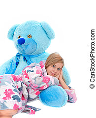 Girl with teddybear - Beautiful young girl with her teddy