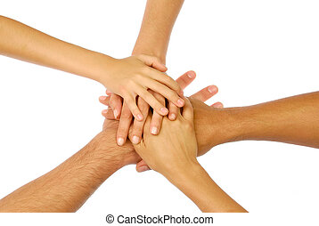 Hands group - Pile of hands isolated on white symbolizing...