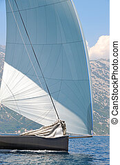 Sailing yacht detail with one sail up and one down