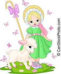 pequeno, shepherdess, cordeiro