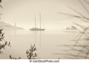 Sailing boat retro