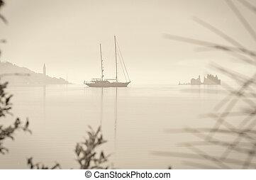 Sailing boat retro