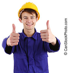 Thumbs up worker, isolated on white