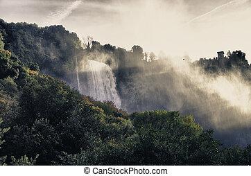 Stunning view of Marmore Waterfalls, Umbria - Stunning view...