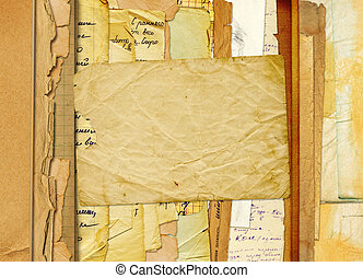 Old archive with letters, photos on the abstract background