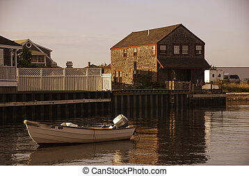 Homes over Water on Nantucket Coastline, Massachusetts
