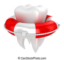 Tooth with lifebuoy - Illustration of tooth with lifebuoy on...