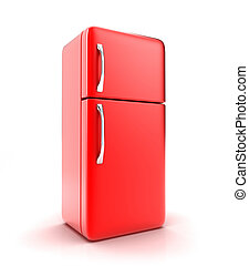 The fridge - Illustration of a new fridge on a white...