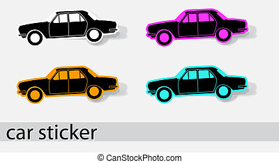 Car stiker icons. Design elements. Vector illustration EPS...