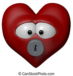 locked heart - red heart with keyhole - 3d cartoon...