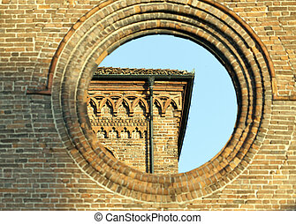 piacenza church in wall - wall of church of piacenza in...