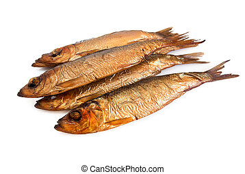 Smoked fish - Tasty smoked fish isolated on white background...