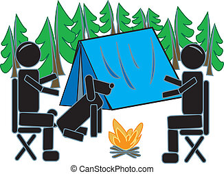 Stick Figures Camping In The Woods