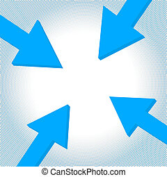 Vector arrow to center - Blue arrows tip-to-tip pointing to...