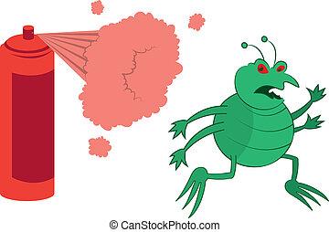 Green Bug Sprayed - Isolated cartoon green bug running away...