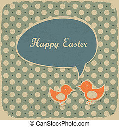 Retro easter background, vector illustration