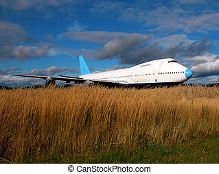 Grounded jet plane with grass in foreground